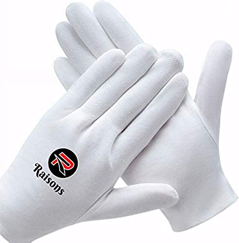 Raisons Pack of 12 Pure Cotton Safety Hand Gloves Washable Reusabele Protection from Sun burns Dust Pollution while driving White