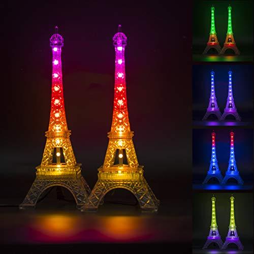 BTF-LIGHTING USB DC5V 2PCS Tour Eiffel en Couleur avec IR 21 Touches Télécommande 20LEDs Dream Color RGB Mini Night Light Desk Lampe de Table Lampe de Cadeau d'anniversaire
