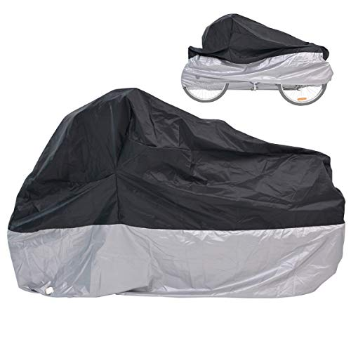 "H&ZT Adult Tricycle Cover Bike Cover, Outdoor Bicycle Motocycle Storage Cover, Heavy Duty Ripstop Material, Waterproof & Anti-UV (75"" L x 30"" W x 44"" H) (Black & Silver, 75"" L x 30"" W x 44"" H)"
