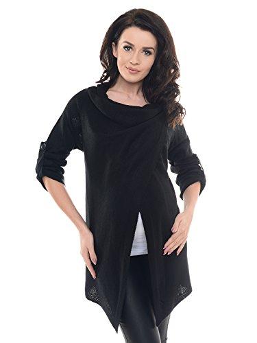 Purpless Damen Warm Schwangerschaft Strickjacke Still-Pullover Umstandskleidung 9001/5 (44/46, Black)