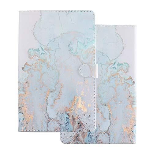Tablette Hülle für Universal 10 Zoll (9.5-10.5 Zoll) - Tasche Leder Flip Hülle Etui Schutzhülle Smart Cover für 9.6 9.7 10.1 10.2 10.4 10.5 Tablet Goldblauer Marmor