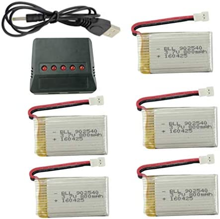 5pcs 3 7v 800mAh Lithium Battery with 5 in 1 Charger for Syma X5C X5C 1 X5A X5 X5SC X5SW H5C product image
