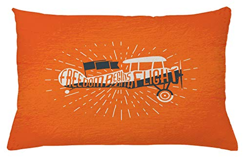 "Lunarable Vintage Throw Pillow Cushion Cover, Freedom Phrase with an Old Custom Airplane Sky Fly Inspiration Aviation Graphic Artwork, Decorative Rectangle Accent Pillow Case, 26"" X 16"", Orange"