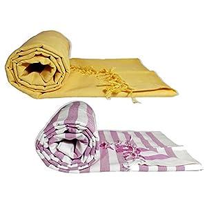 Riyashree Organic Cotton Silky Soft Bhagalpuri Dull chadar Throw for All Season ( 53*96 in ) Combo Pack of 2 RiBDull 09…