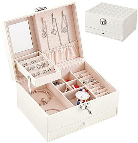 Caja Joyero Cuero PU de 3 capas con cerradura Caja Organizadora de Joyas para mujer Caja de Joyas para anillos Pendientes Collares Relojes Blanco