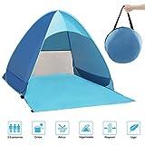 Gintenco Tente Anti UV, Abri de Plage avec Protection Solaire UV UPF 50+ pour 2-3 Personnes,Tente de Plage Instantanée Portable Escamotable, Comprend Un Sac de Transport et des Piquets de Tente, Bleu