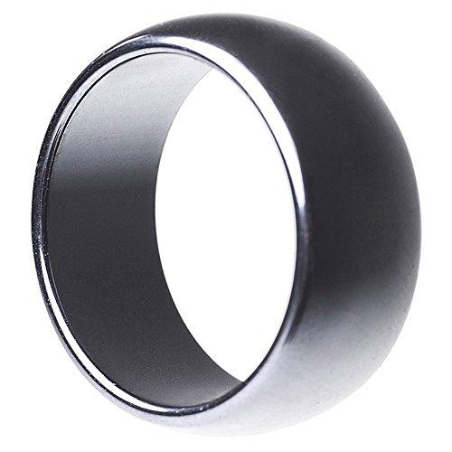Breiter Ring aus echtem Hämatit glatt grau rund unisex Steinring Fingerring, Ringgröße:Innenumfang 58mm ~ Ø18.5mm