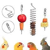 AHANDMAKER Soportes de Comida para Pájaros, Comederos Colgantes Redondos de Acero Inoxidable para Pájaros, Alimentador de Aves de Acero Inoxidable para Loros, Alimentador de Frutas Y Verduras