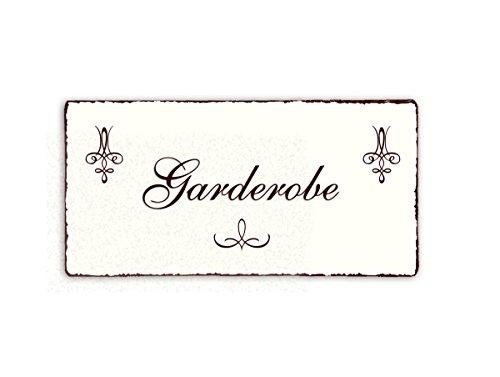 SCHILD Dekoschild « GARDEROBE » Shabby Vintage Holzschild Türschild