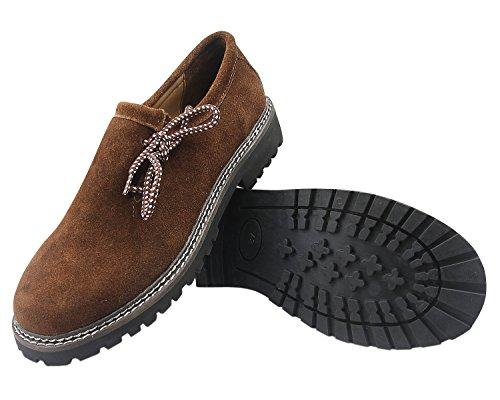 ALL THE GOOD Trachten Schuhe Haferlschuhe Brown Almhaferl Oktoberfest Trachtenschuhe Aus Wildleder Brown (45)