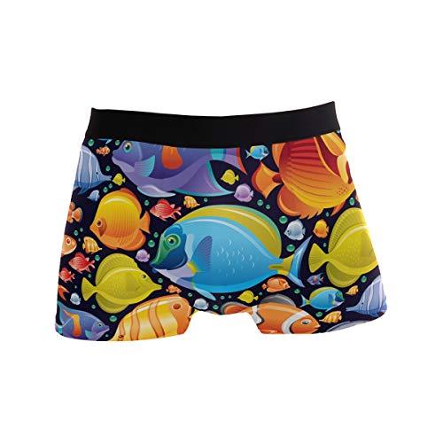 ZZKKO Herren Boxershorts mit tropischen Fischen, atmungsaktiv Gr. S, mehrfarbig