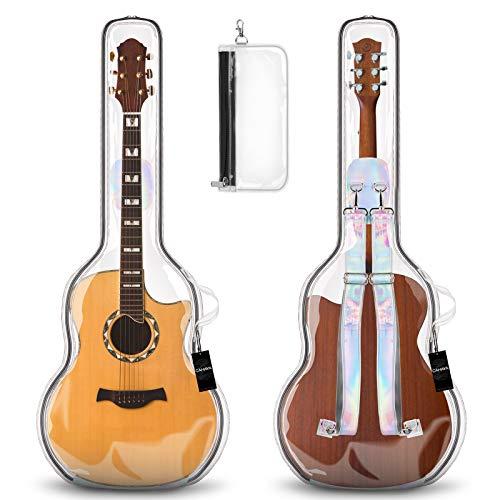 CAHAYA Bolsa para Guitarra Acustica Trasparente in TPU Funda para Guitarra Acustica Clasica de 39 40 41 Pulgadas con Correa para Hombro Desmontable