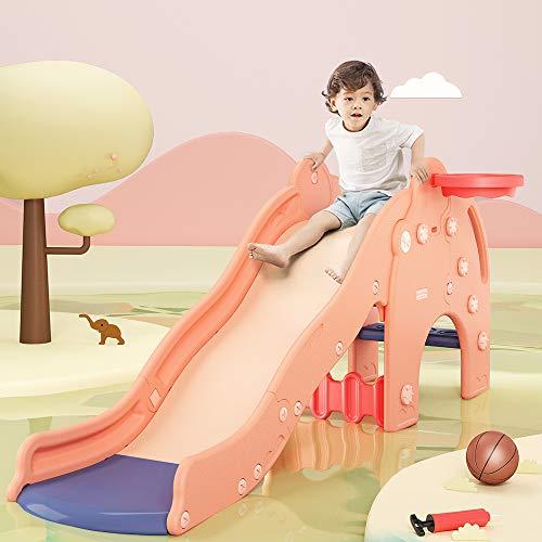 WELINK Kids Slide with Basketball Hoop Plastic Toddler Climber Play Slide Wave Slideway Max Load 330lb Non-Slip 3 Steps Freestanding Slide Toy for Children Both Indoor Outdoor Use Elephant Pink