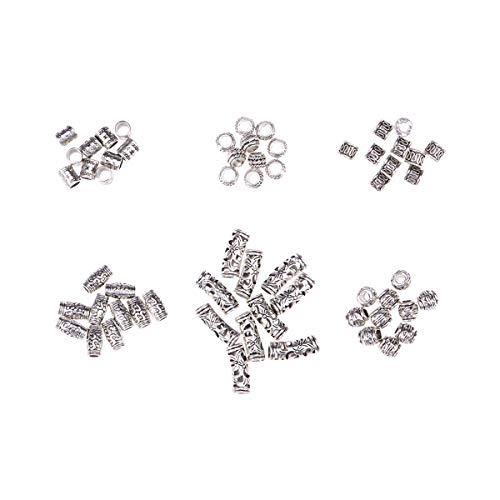 Lurrose 60pcs Surtido Patrón de Pelo Brazalete de Pelo de Aluminio Trenzado de Perlas Rastas Accesorios Conjuntos