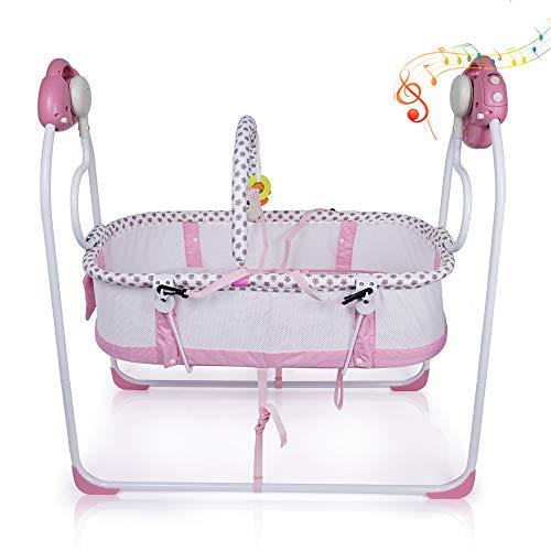 VASTFAFA Babywippe Elektrisch Babyschaukel Faltbare Babywiege 6 Schaukel Geschwindigkeiten Schaukelstuhl 2 Schaukelrichtungen 16 Melodien Baby Multifunktionales Tragbares Design mit Fernbedienung Rosa