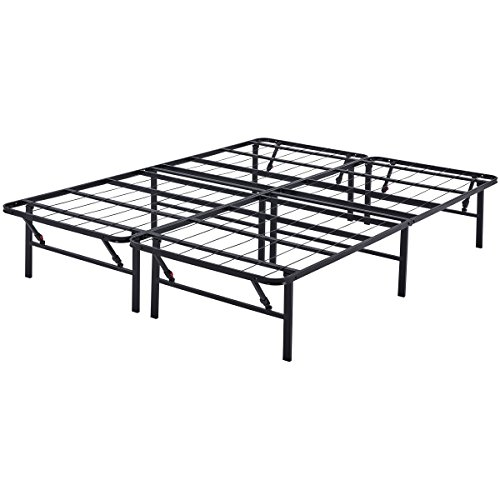 """Mainstay 14"""" High Profile Foldable Steel Bed Frame, Powder-Coated Steel, Queen (Black, Queen)"""