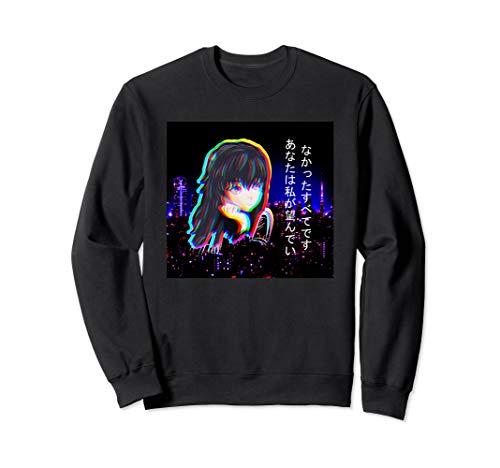 Vaporwave Anime japanische Kanji Lofi Sad Girl Glitch Tokyo Sweatshirt