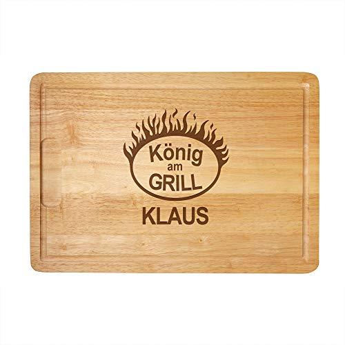 Crazy Kitchen Casa Vivente Schneidebrett mit Gravur König am Grill Flammen, Personalisiert mit Name, Kochbrett als Geschenkidee zum Geburtstag, 40,5 x 28,5 x 2 cm