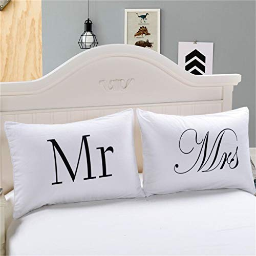 Warmht Couples Pillowcases Romantic Gifts for Him for Her for Valentines Day, Anniversary, Wedding 30 X 20inches (Mr/Mrs)