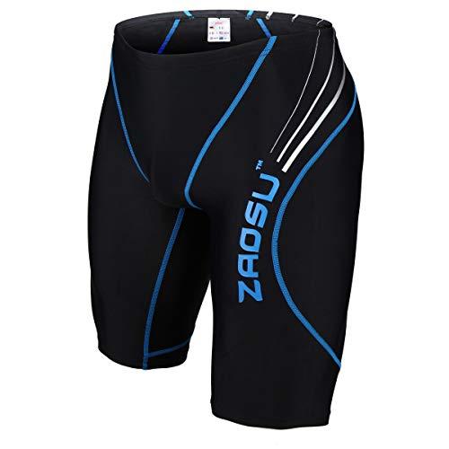 ZAOSU Wettkampf-Schwimmhose Z-Black - Badehose für Jungen und Herren, Größe:176/3, Farbe:schwarz/blau