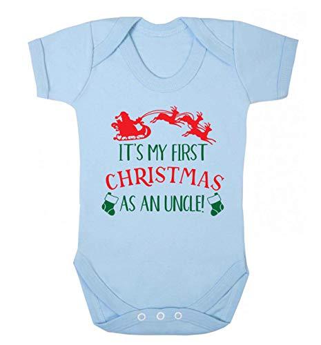 Flox Creative Baby Gilet pour bébé Inscription First Christmas as an Uncle - Bleu - Nouveau né