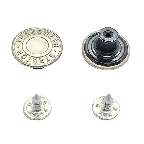 Trimming Shop 17mm Latón Repuesto Vaqueros Botón Cierre con Espalda Pin Mano Prensado Tachuelas para Vaqueros, Chaquetas, Ropa Reparación, Plata - Design-2, 8pcs
