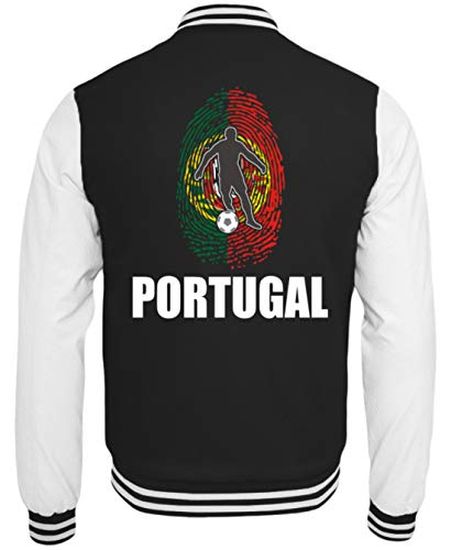 Sudadera Generic de alta calidad College – Camiseta de la selección de Portugal de Rusia 2018 para fans de la Potugiese, fútbol, huellas dactilares, diseño nacional blanco y negro XXL
