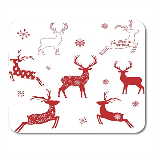 Mouse pad red christmas reindeer silhouette deer animal antler beautiful beauty mousepad for notebooks,Desktop computers mouse mats, Office supplies