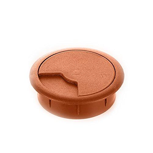 sossai® Kabeldurchführung KDM2 (20 Stück)   Kabeldurchlass/Schreibtischkanal für Schreibtische, Büro & Arbeitsplatten   Farbe: Erle   Durchmesser: 60 mm   Material: Kunststoff