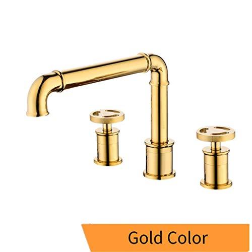 Wastafel kraan wastafelkranen Retro industriële stijl Matte Gold Color badkamer wastafel kranen 3 gaatjes dubbel handvat warm en koud water Tap,Brass