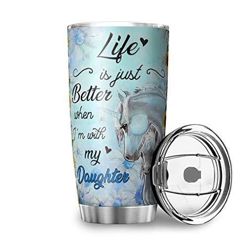 MiKiBi-77 Unicorn - Vaso de acero inoxidable de grado alimenticio, práctico – botella de agua con tapa deslizante a prueba de salpicaduras para oficina blanca 600 ml