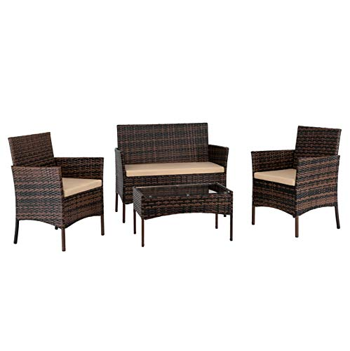Rattan Corner Sofa Set/Patio Garden Sofa Couch Coffee Table for Small Apartment/2 Arm Chairs&1 Love Seat&1 Tempered Glass Coffee Table/Brown Gradient
