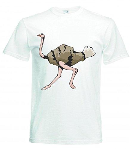 Camiseta de Avestruz, pájaro Corriendo pájaro Carreras para Hombre Mujer niños de 104 – 5 x l Blanco S
