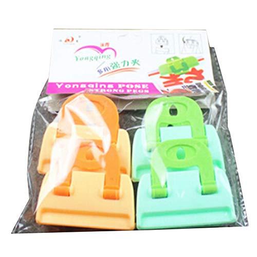 Generic Tigkley 4 Stück Plastiknahrungsmittelbeutel-Verschlussklammern, Verschlussklemme für Home-Office-Reisen