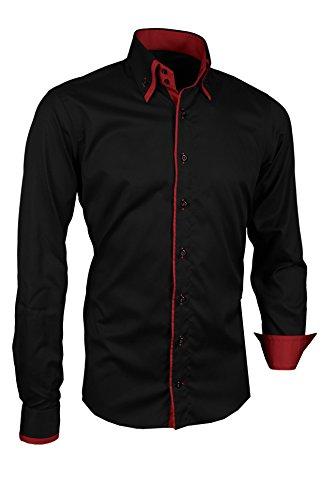 Giorgio Capone Herrenhemd, schwarz, Langarm, Doppelkragen, Slim & Regular Fit (XXL Reg mit Brusttasche)