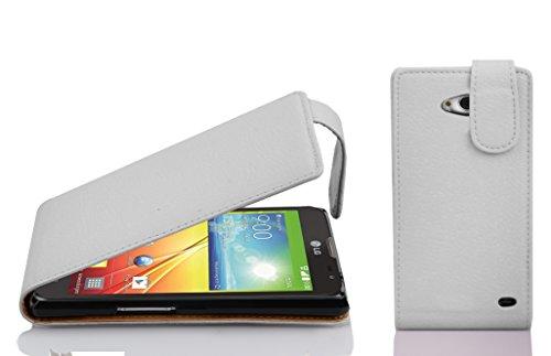 Cadorabo Hülle für LG L90 - Hülle in Magnesium WEIß – Handyhülle aus Strukturiertem Kunstleder im Flip Design - Hülle Cover Schutzhülle Etui Tasche