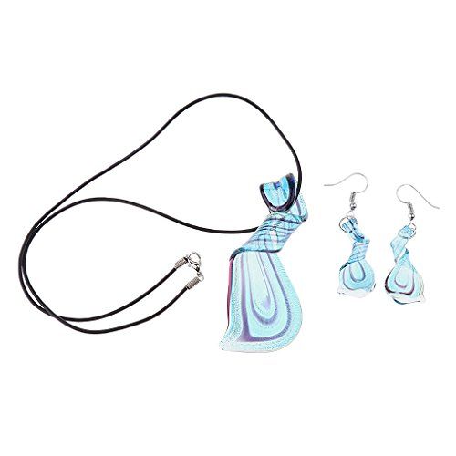 dailymall El Collar Espiral de Cristal de Las Mujeres Cuelga El Conjunto de La Joyería de Los Pendientes del Gancho de Pescados - Azul