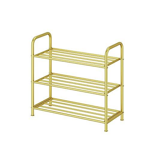 JIADUOBAO Zapatero de 3 niveles, estantes de almacenamiento de metal para salón, entrada, pasillo y guardarropa, 65 x 26 x 60 cm, color: dorado