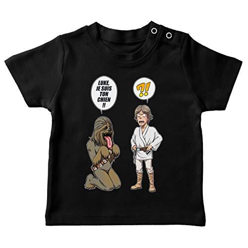 T-Shirt bébé Noir Parodie Star Wars - Luke Skywalker et Chewbacca - Luke, Je suis Ton Chien (Epoque 1ère Trilogie) (T-Shirt de qualité Premium de Taille 12 Mois - imprimé en France)