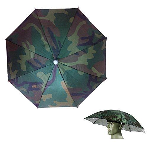 ChenRui Unisexe Adulte Bandeau élastique Camouflage Serre-tête Etanche Chapeau Parapluie Parasol Pliable Pour Pêche Soleil Pluie Plage Camping Randonnée Extérieur