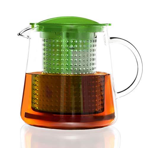 Finum TEA CONTROL 0,8 Liter (800 ml) - Glas Teekanne mit Siebeinsatz & Filzuntersetzer, Glas-Teekannen, Borosilikat Glas Kanne, Teebereiter, Sieb, Filter, Patentierte Brühkontrolle, BPA-frei - Grün