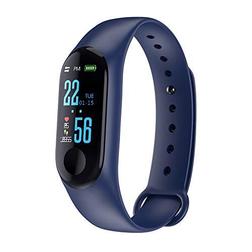 Montres bracelet intelligente, sport de la pression art¨¦rielle fr¨¦quence cardiaque montre intelligente bracelet poignet Fitness Tracker-bleu