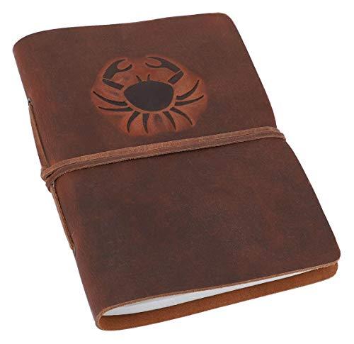 Gusti Notizbuch Leder - Crab Kalender Tagebuch Lederbuch Kreativbuch Poesiealbum Buch Reisetagebuch Sternzeichen Krebs DIN A5 Braun Leder