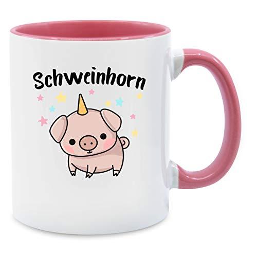 Shirtracer Statement Tasse - Schweinhorn - Unisize - Rosa - Schweinchen Geschenk - Q9061 - Kaffee-Tasse inkl. Geschenk-Verpackung