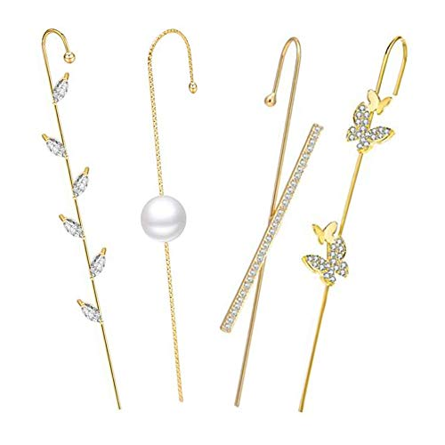 Ear Wrap Crawler Hook Pendientes, Mujeres Gold Piercing Ear Climbers Hook, Cubic Zirconia Crawler Hook Pendientes Set Único Rhinestone Ear Jewelry (B)
