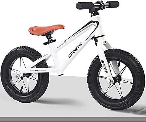 DRAGDS Bicicleta de Equilibrio, Bicicleta de Equilibrio para Niños con 12 Pulgadas de Ancho, Neumáticos de Aire, sin Pedal, Deporte, Bicicleta para Niños, Altura de Niño: 95130 Cm, M de Acero, Regalo
