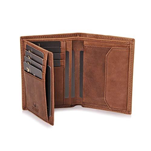 DONBOLSO® Geldbörse Wien I Großes Portemonnaie für Herren I Geldbeutel aus Leder mit RFID-Schutz I Braun