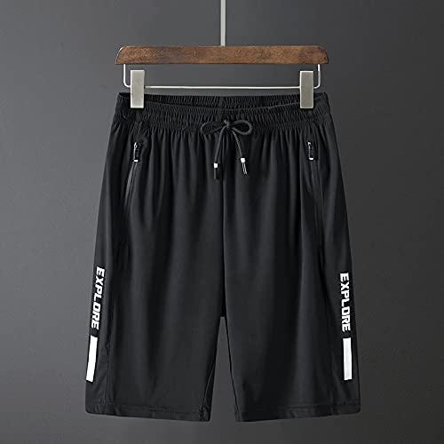 ZYLEDW Hombres Sueltos Casual Gym Sport Jogger Bolsa con cordón Transpirable Hombres Sweat Half Shorts.-E  8XL