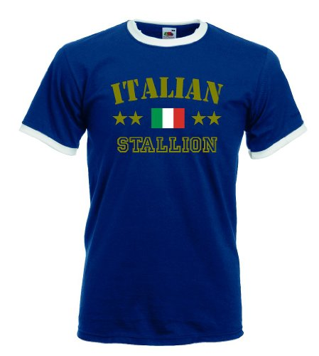 world-of-shirt Italian Stallion Herren T-Shirt Retro Trikot|navy M