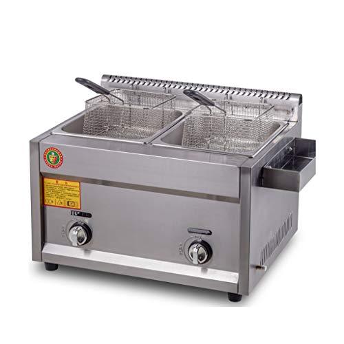 BL Freidora de Gas de Acero Inoxidable con colador para Papas Fritas de Pollo Comercial Cocina de hogar Freidora de Gas
